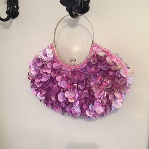 Handbags - Purple Pailette (Sequin) Bracelet Bag